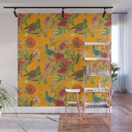 BIRDS IN THE POPPY GARDEN - Saffron Wall Mural