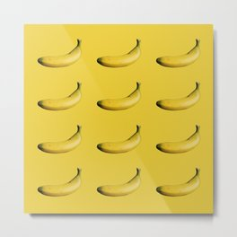 Bananas pattern on a yellow background with pop art styel Metal Print