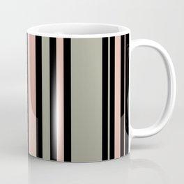 Pink and Moss Stripes on Black Coffee Mug