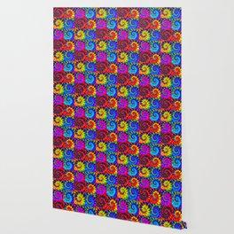Spiral Tie Dye Checkerboard Wallpaper