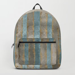 Reflected Moon Falling Rain Gold Pewter Blue Backpack