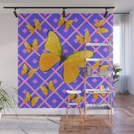 Decorative  Yellow Butterflies on Lilac & Pink Wall Mural