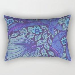 William Morris Indigo Forget Me Not Floral Art Nouveau Rectangular Pillow