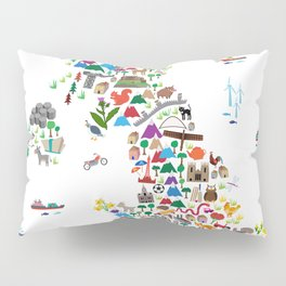 Animal Map of Great Britain & NI for children and kids Pillow Sham