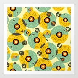 Turntables (Yellow) Art Print