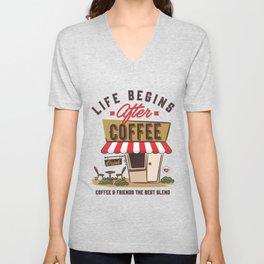 Life Begins After Coffee Unisex V-Neck