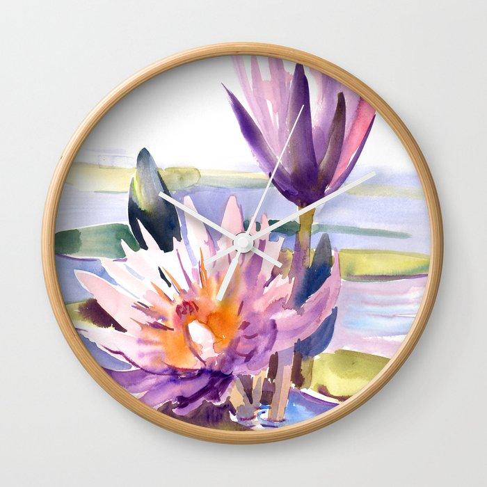 Water Lily Lotus Asian Ink Drawing Zen Brush Pink Purple Flower