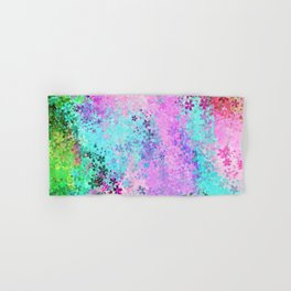 flower pattern abstract background in pink purple blue green Hand & Bath Towel