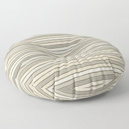 Neutral Tan and Stone Stacked Lines Floor Pillow