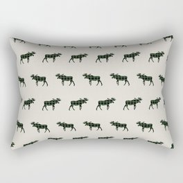 Moose Buffalo Plaid forest camping glamping outdoors forest bathing Rectangular Pillow