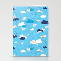 airplanes Stationery Cards featuring Paper Airplanes by Polita