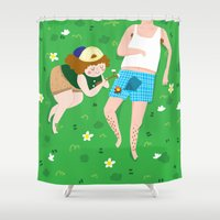 camping Shower Curtains featuring CAMPING by dawndawndawnillustration