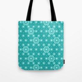 Japanese Asanoha or Star Pattern, Turquoise & Aqua Tote Bag