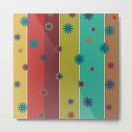 Retro Stripes + Floral Metal Print