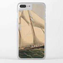 Vintage Illustration of a Schooner Sailboat (1867) Clear iPhone Case