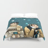 kevin russ Duvet Covers featuring Kevin & Cas - Supernatural by Justyna Rerak