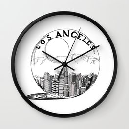 Los Angeles in a glass ball . Artwork Wall Clock
