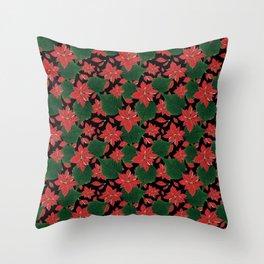 Poinsettia Party Throw Pillow