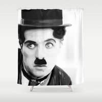 chaplin Shower Curtains featuring Charlie Chaplin by Thousand Lines Ink