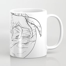 Fenrir Attacking Norse God Odin Drawing Black and White Coffee Mug