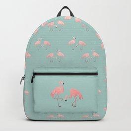 Flamingo Love Blue Backpack