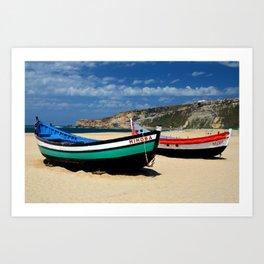 Colorful fishingboats Art Print