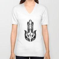 hamsa V-neck T-shirts featuring Hamsa by FractalFox