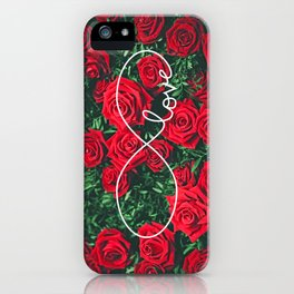 Red Roses Photography & Infinity Love Sign iPhone Case