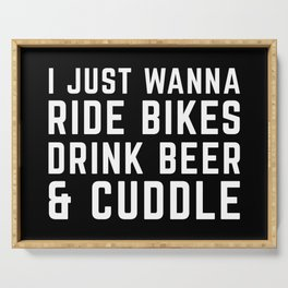 Ride Bikes, Drink Beer Funny Quote Serving Tray