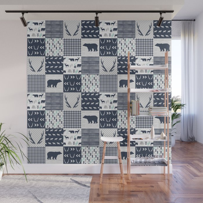 Camper Antlers Bears Pattern Minimal Nursery Basic Navy Mint Grey White Camping Cabin Chalet Decor Wall Mural By Charlottewinter