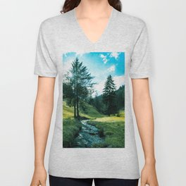 Green fields, trees and a magical brook Unisex V-Neck
