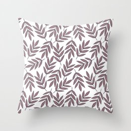 Mauve pink brown modern hand painted fall leaves Throw Pillow