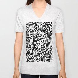 black & white doodle Unisex V-Neck