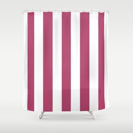 Irresistible purple - solid color - white vertical lines pattern Shower Curtain