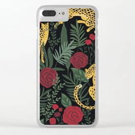 Roses In The Garden With Sensual Leopards Dark Background Clear iPhone Case