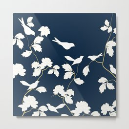 Birds, Branches and Blossoms Navy and White Metal Print