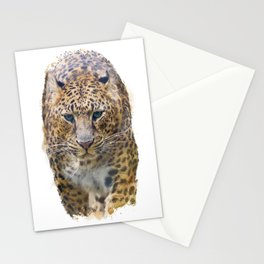 Watercolor Portrait of Leopard  on white background Stationery Cards