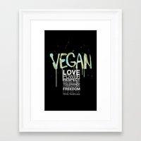vegan Framed Art Prints featuring VEGAN by Elisaveta Stoilova