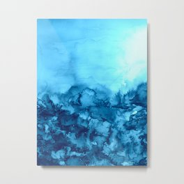 INTO ETERNITY, TURQUOISE Colorful Aqua Blue Watercolor Painting Abstract Art Floral Landscape Nature Metal Print