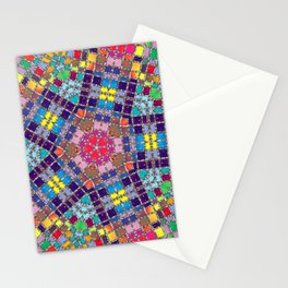 Gemstones and Metal Pentagon Pattern Stationery Cards