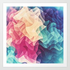 Geometry Triangle Wave Multicolor Mosaic Pattern - (HDR - Low Poly Art) - FULL Art Print