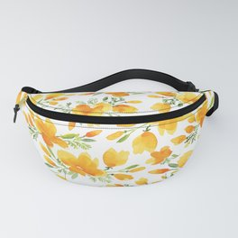 Watercolor california poppies bouquet Fanny Pack