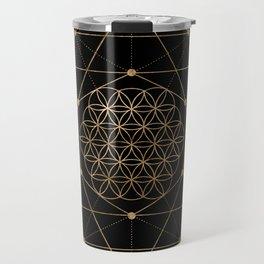 Flower of Life Black and Gold Travel Mug