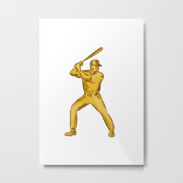 Baseball Batter Batting Bat Etching Metal Print