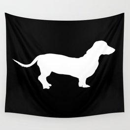 Dachshund on Black Wall Tapestry