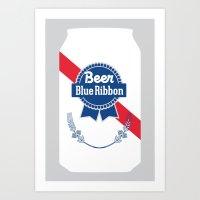 Beer (Blue Ribbon) Art Print