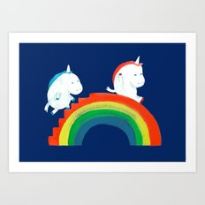 Unicorn on rainbow slide Art Print