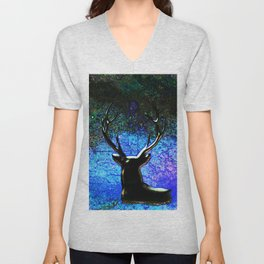 Deer Season Blue Night Sky Unisex V-Neck