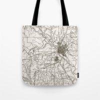dallas Tote Bags featuring Dallas Map by Zeke Tucker