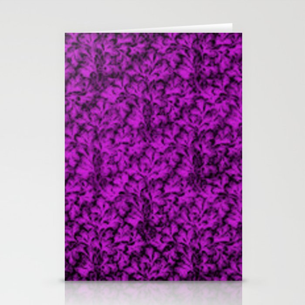 Vintage Floral Lace Leaf Dazzling Violet Stationery Cards